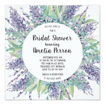 lavender love floral eucalyptus bridal shower invitation
