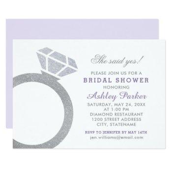 lavender purple bridal shower with diamond ring invitation
