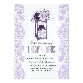 lavender purple flowers lantern bridal shower invitation