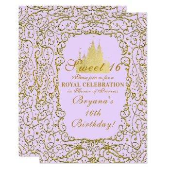 lavender purple & gold castle princess sweet 16 invitation