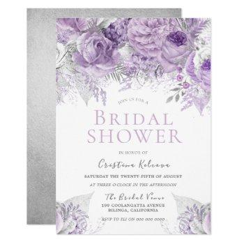 lavender purple silver floral bridal shower invitation