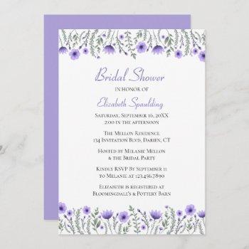 lavender  purple watercolor floral bridal shower invitation