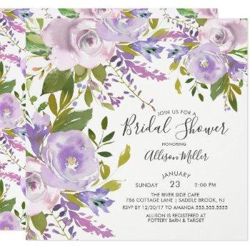 lavender spring floral bridal shower invitation