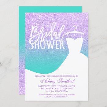 lavender turquoise mermaid dress bridal shower invitation