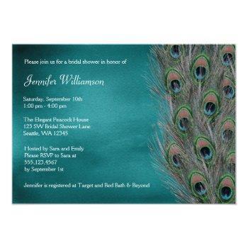 lavish peacock feather bridal shower invitations