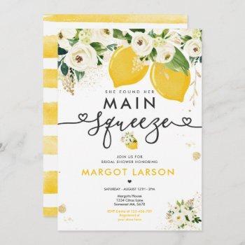 lemon bridal shower floral lemon main squeeze invitation