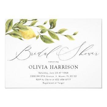 lemon bridal shower invitation