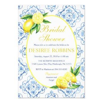 lemon bridal shower invitation, blue tile italian invitation