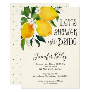 lemon bridal shower, let's shower the bride invitation