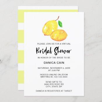 lemon bridal shower virtual online elegant  simple invitation