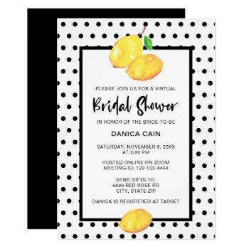 lemon bridal shower virtual online polka dots invitation