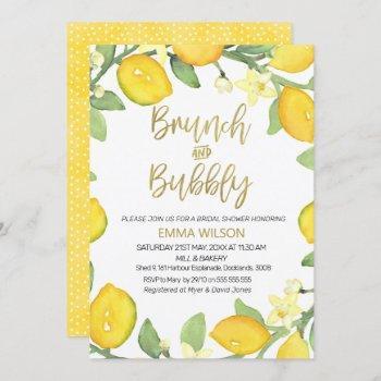 lemon brunch and bubbly bridal shower invitation