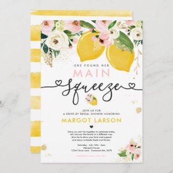 lemon drive by bridal shower lemon main squeeze invitation