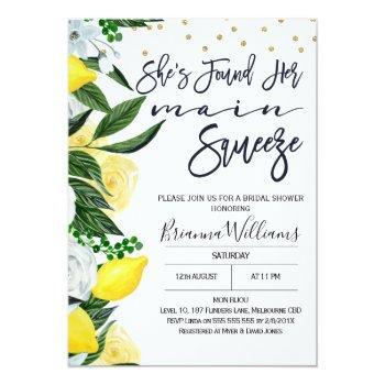 Lemon Floral Main Squeeze Bridal Shower Invitation Front View