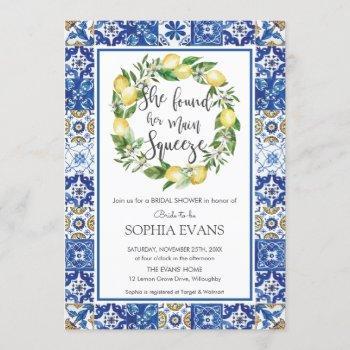 lemon main squeeze mediterranean bridal shower invitation