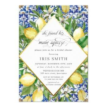 lemon she found her main squeeze bridal shower invitation