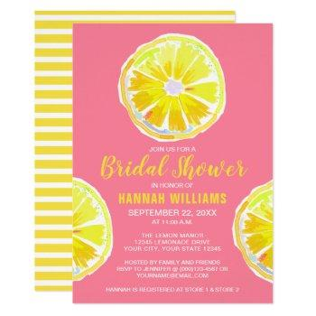 lemon watercolor with pink bridal shower invitation