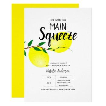 lemon yellow bridal shower she found her squeeze invitation