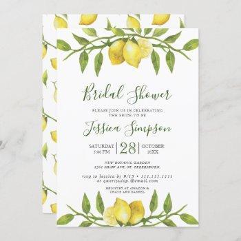lemons blossom greenery  watercolor bridal shower invitation