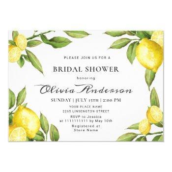 lemons chic greenery  watercolor bridal shower invitation