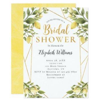 lemons greenery geometric frame bridal shower invitation