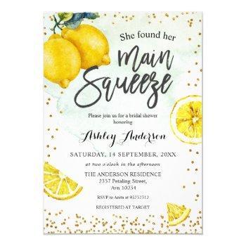 lemons main squeeze bridal shower invitation