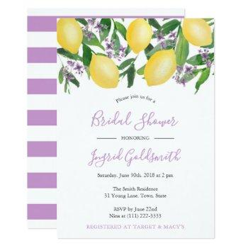 lemons yellow and purple citrus bridal shower invitation