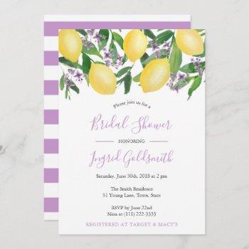 lemons yellow and purple citrus bridal shower invitation