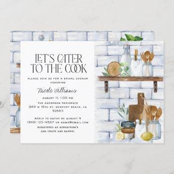 let's cater to the cook watercolor bridal shower invitation