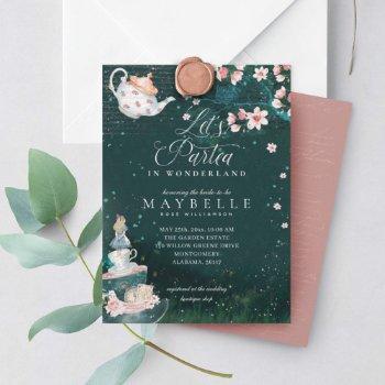 let's partea bridal alice in wonderland tea party invitation