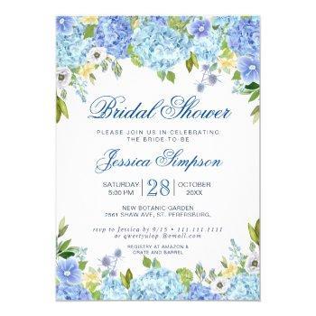 light blue hydrangea watercolor bridal shower invitation