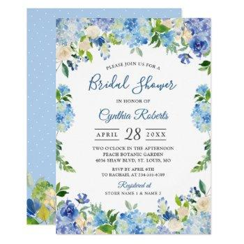 light blue hydrangeas floral wreath bridal shower invitation