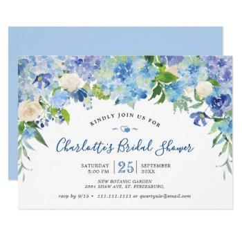 light blue hydrangeas  greenery bridal shower invitation