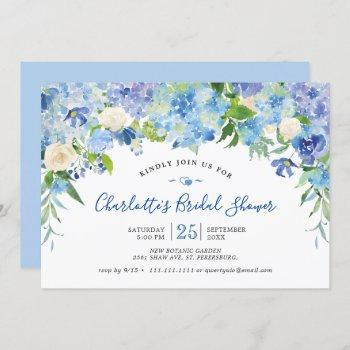light blue hydrangeas  greenery bridal shower invitation