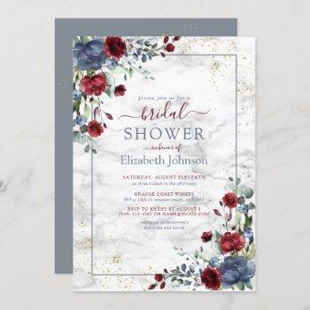 light dusty blue burgundy gold floral shower invitation