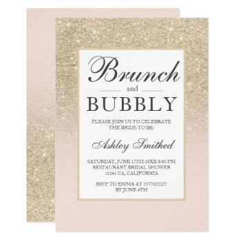 light gold glitter brunch bubbly bridal shower invitation
