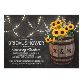 lights rustic vineyard sunflower bridal shower invitation