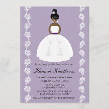 lilac african american pretty bride bridal shower invitation