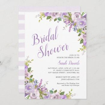 lilac floral bridal shower invitation