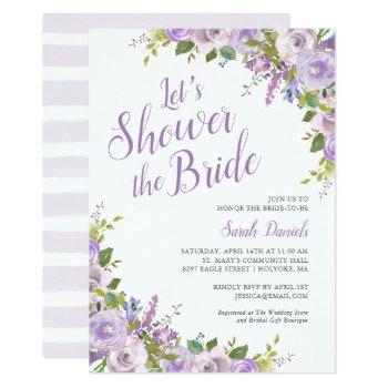 lilac floral bridal shower invitation