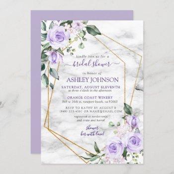 lilac lavender gold marble floral bridal shower invitation