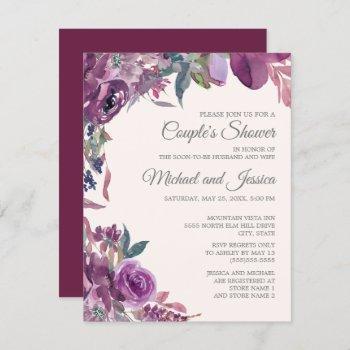 lilac plum purple floral couple's bridal shower invitation