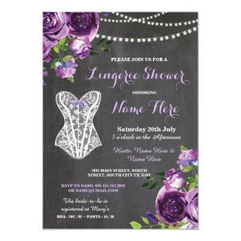 lingerie shower bridal purple chalk floral invite