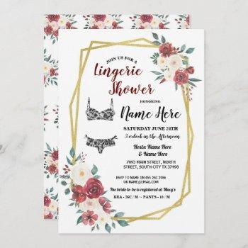 lingerie shower gold watercolor red cream floral invitation
