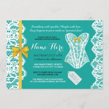 lingerie shower invite teal gold bridal party lace