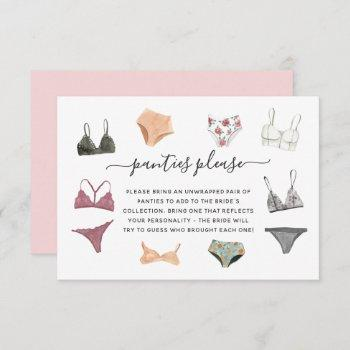 lingerie shower panty party enclosure card