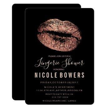 lingerie shower rose gold lips invitation