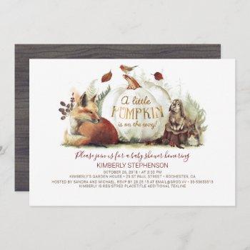 little pumpkin woodland animals fall baby shower invitation