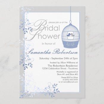 love birds blue bridal shower invitations