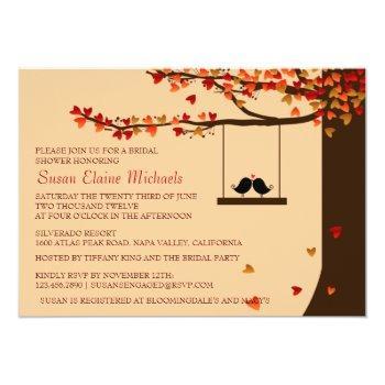 love birds falling hearts oak tree bridal shower invitation